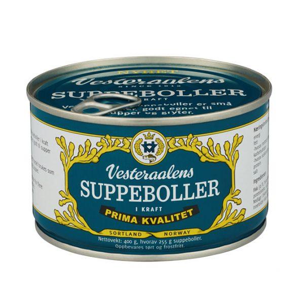 Bilde av en boks med Vesteraalens suppeboller